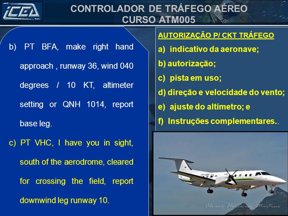 a) indicativo da aeronave; b) autorização; c) pista em uso;