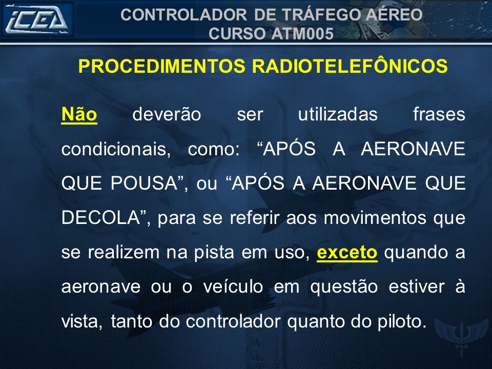 PROCEDIMENTOS RADIOTELEFÔNICOS