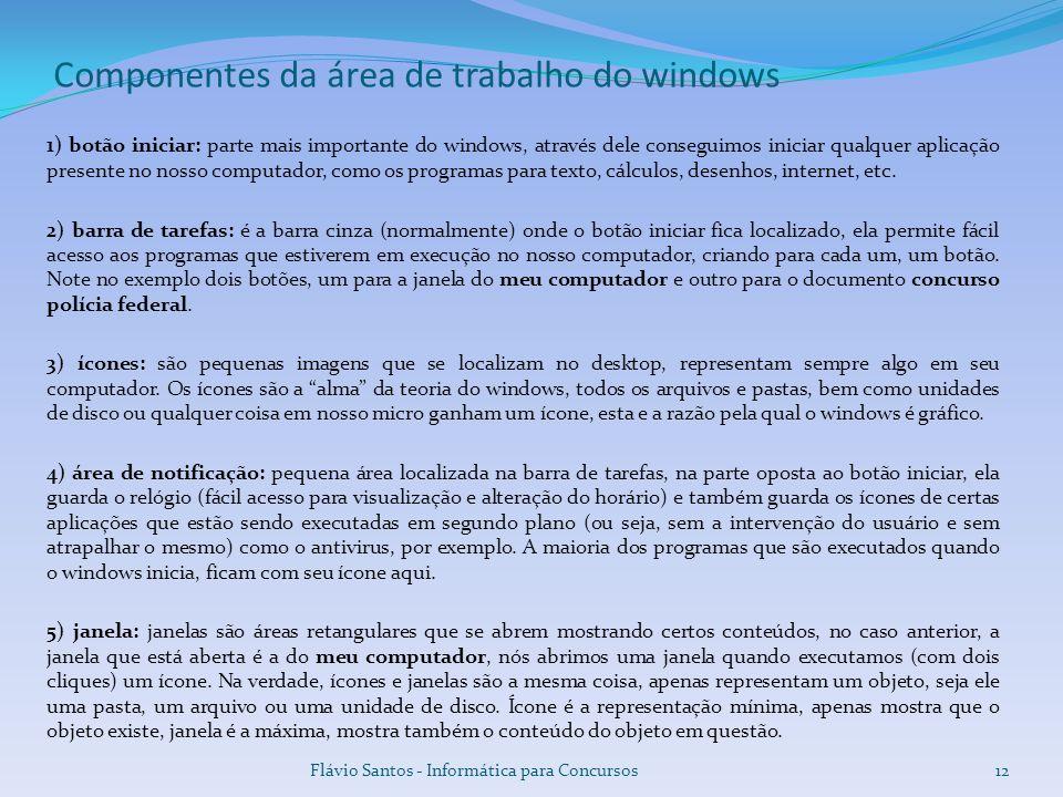 Componentes da área de trabalho do windows