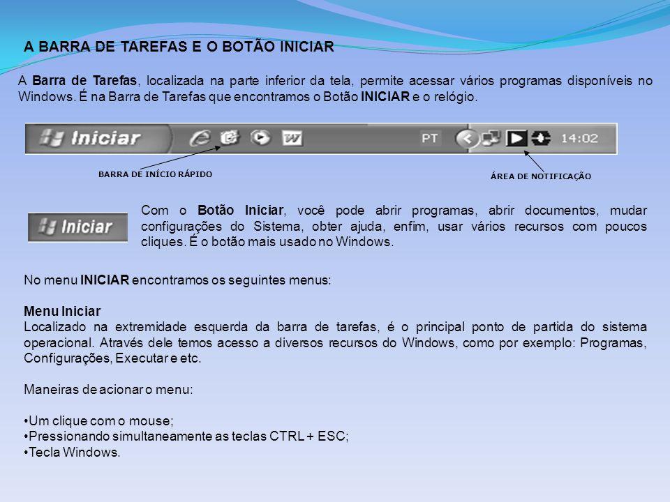 A BARRA DE TAREFAS E O BOTÃO INICIAR