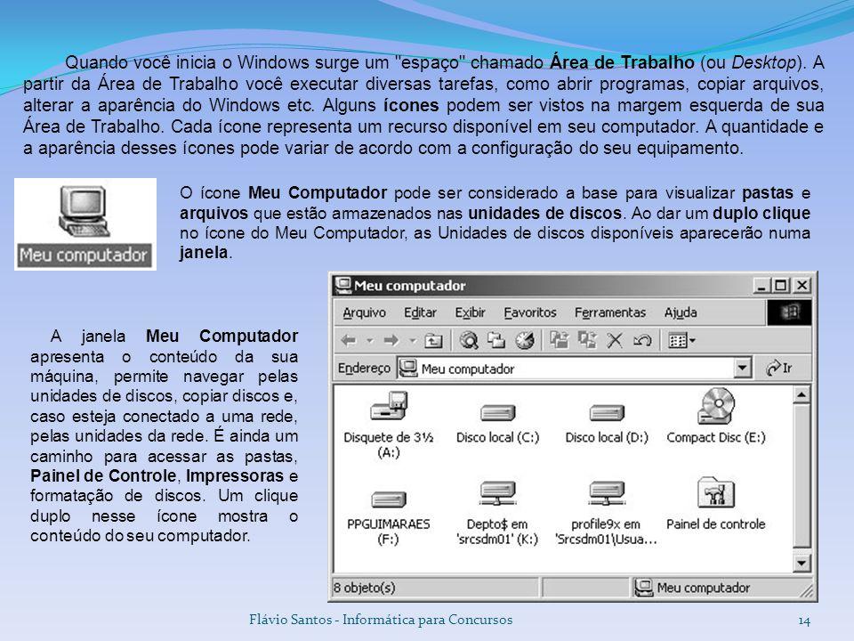 Quando você inicia o Windows surge um espaço chamado Área de Trabalho (ou Desktop). A partir da Área de Trabalho você executar diversas tarefas, como abrir programas, copiar arquivos, alterar a aparência do Windows etc. Alguns ícones podem ser vistos na margem esquerda de sua Área de Trabalho. Cada ícone representa um recurso disponível em seu computador. A quantidade e a aparência desses ícones pode variar de acordo com a configuração do seu equipamento.