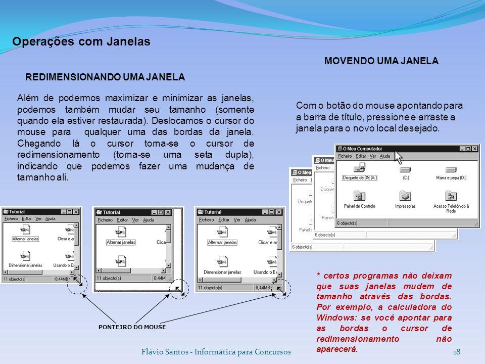 Operações com Janelas MOVENDO UMA JANELA REDIMENSIONANDO UMA JANELA