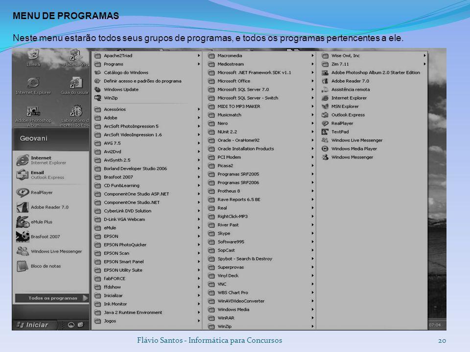 MENU DE PROGRAMAS Neste menu estarão todos seus grupos de programas, e todos os programas pertencentes a ele.