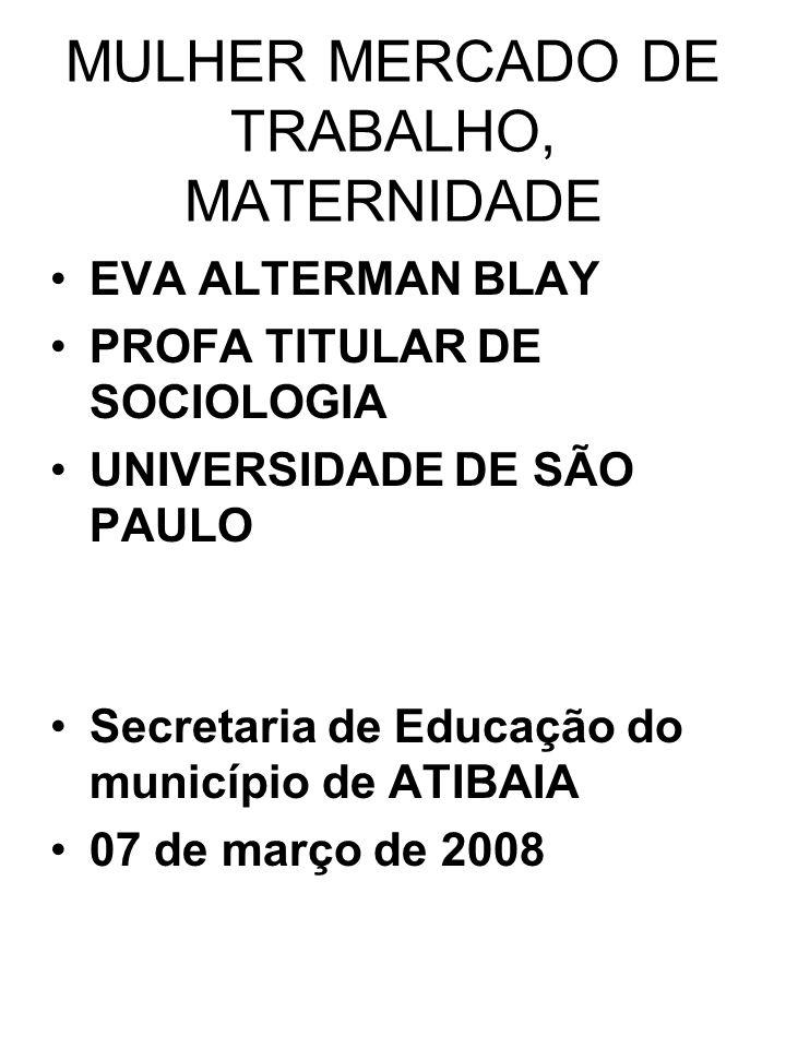 MULHER MERCADO DE TRABALHO, MATERNIDADE