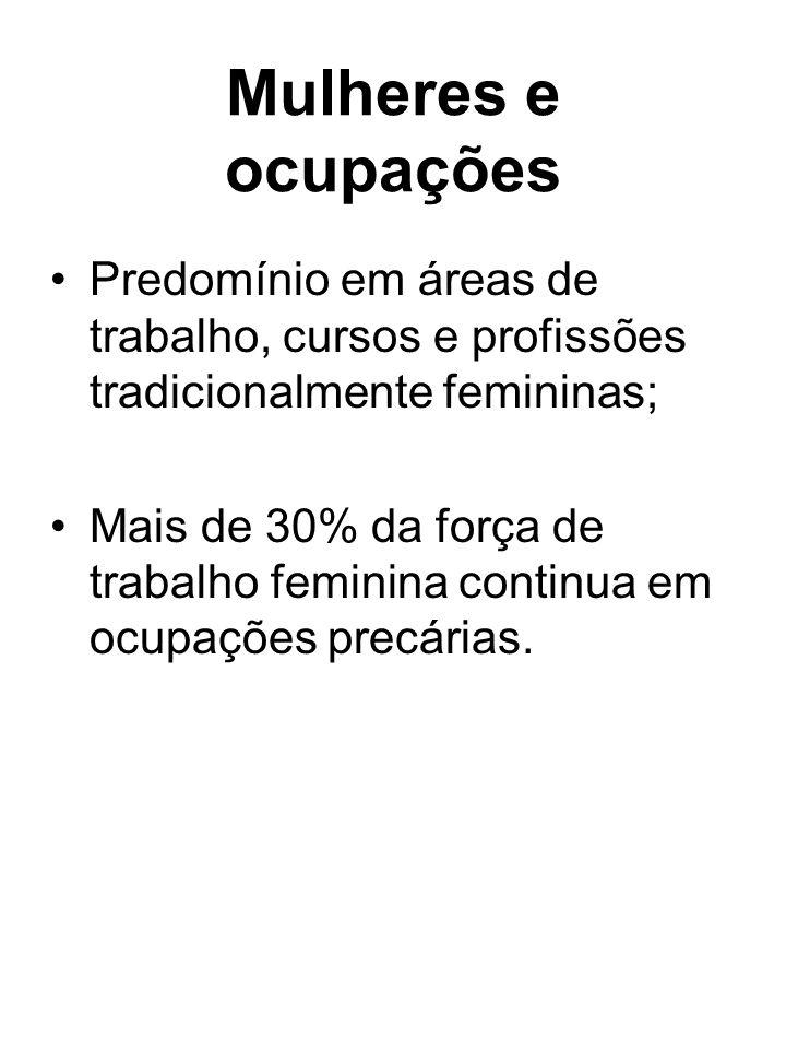 Mulheres e ocupações Predomínio em áreas de trabalho, cursos e profissões tradicionalmente femininas;