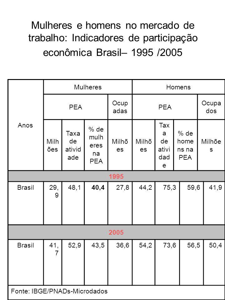Mulheres e homens no mercado de trabalho: Indicadores de participação econômica Brasil– 1995 /2005