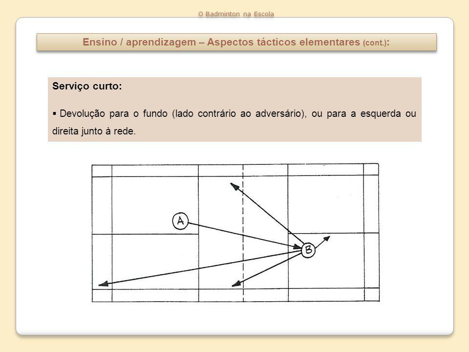 Ensino / aprendizagem – Aspectos tácticos elementares (cont.):