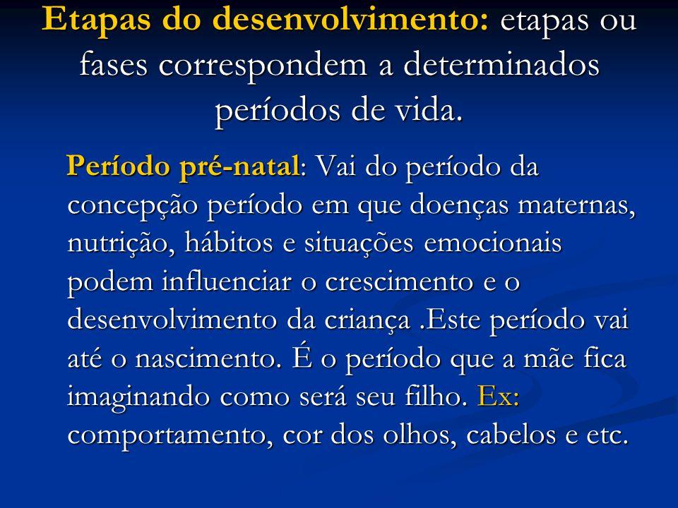 Etapas do desenvolvimento: etapas ou fases correspondem a determinados períodos de vida.