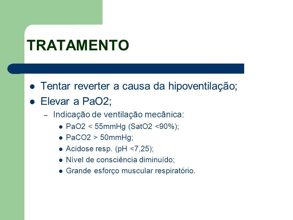 TRATAMENTO Tentar reverter a causa da hipoventilação; Elevar a PaO2;