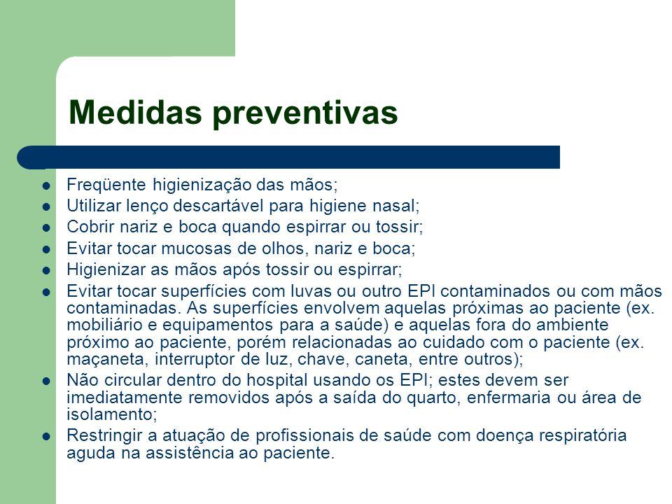 Medidas preventivas Freqüente higienização das mãos;