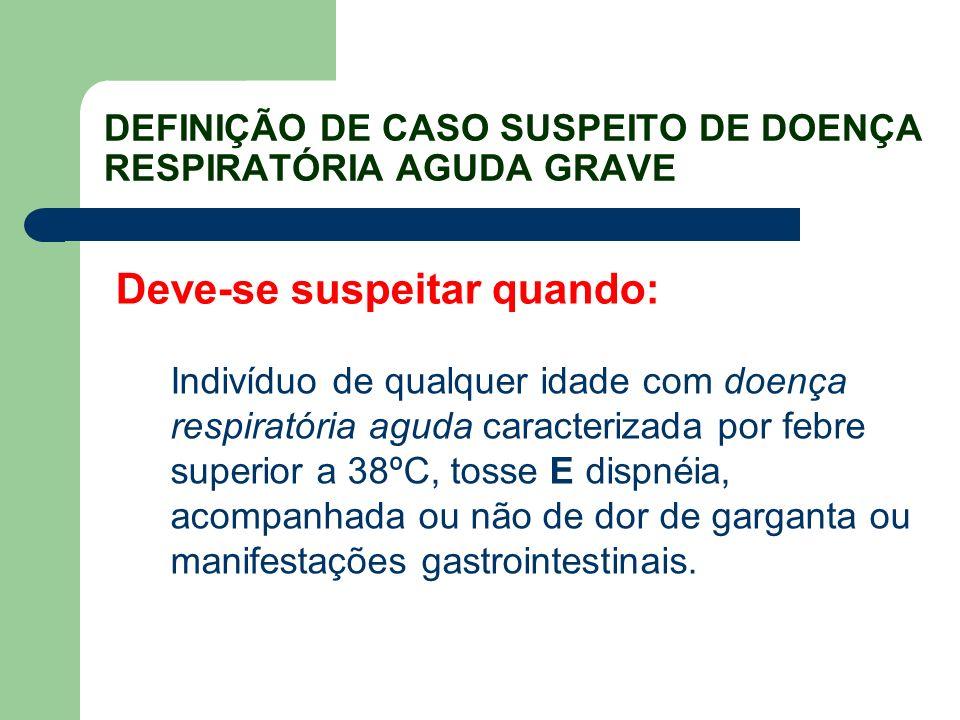 DEFINIÇÃO DE CASO SUSPEITO DE DOENÇA RESPIRATÓRIA AGUDA GRAVE