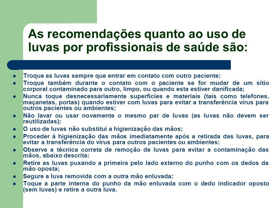 As recomendações quanto ao uso de luvas por profissionais de saúde são: