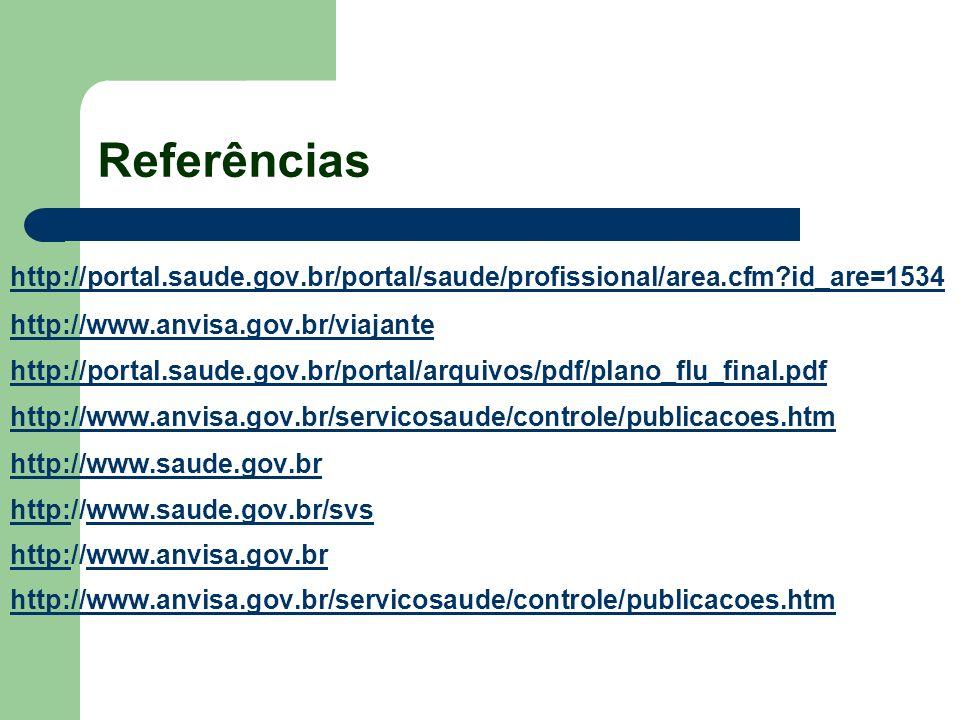 Referências http://portal.saude.gov.br/portal/saude/profissional/area.cfm id_are=1534. http://www.anvisa.gov.br/viajante.
