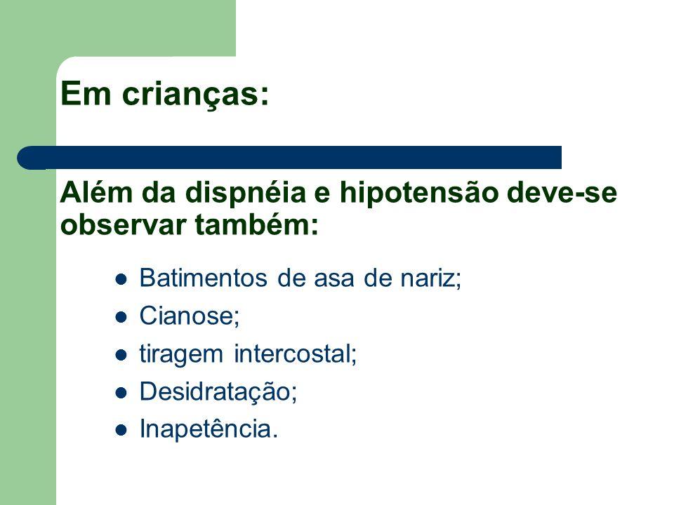 Em crianças: Além da dispnéia e hipotensão deve-se observar também: