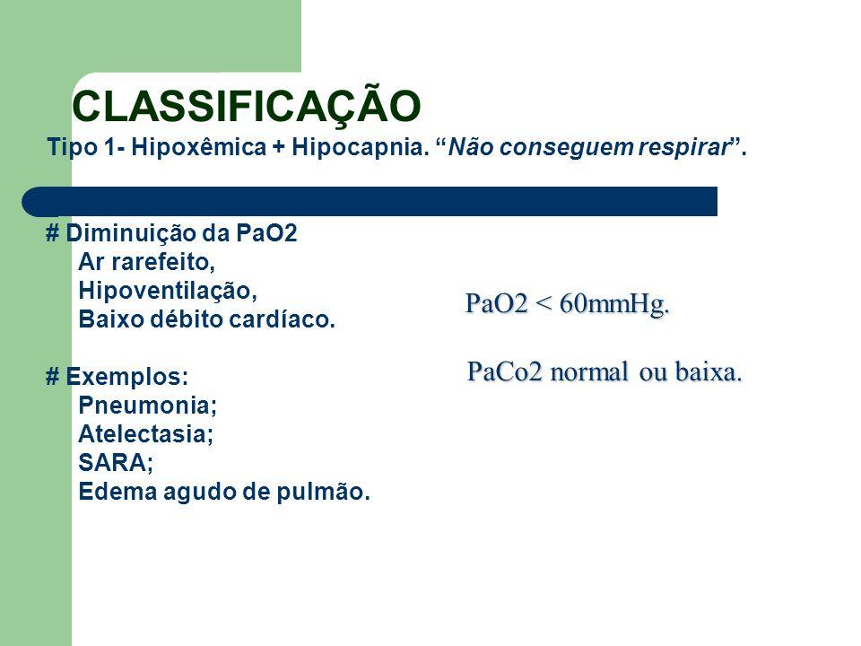 CLASSIFICAÇÃO PaCo2 normal ou baixa.