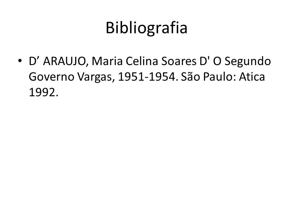 Bibliografia D' ARAUJO, Maria Celina Soares D O Segundo Governo Vargas, 1951-1954.