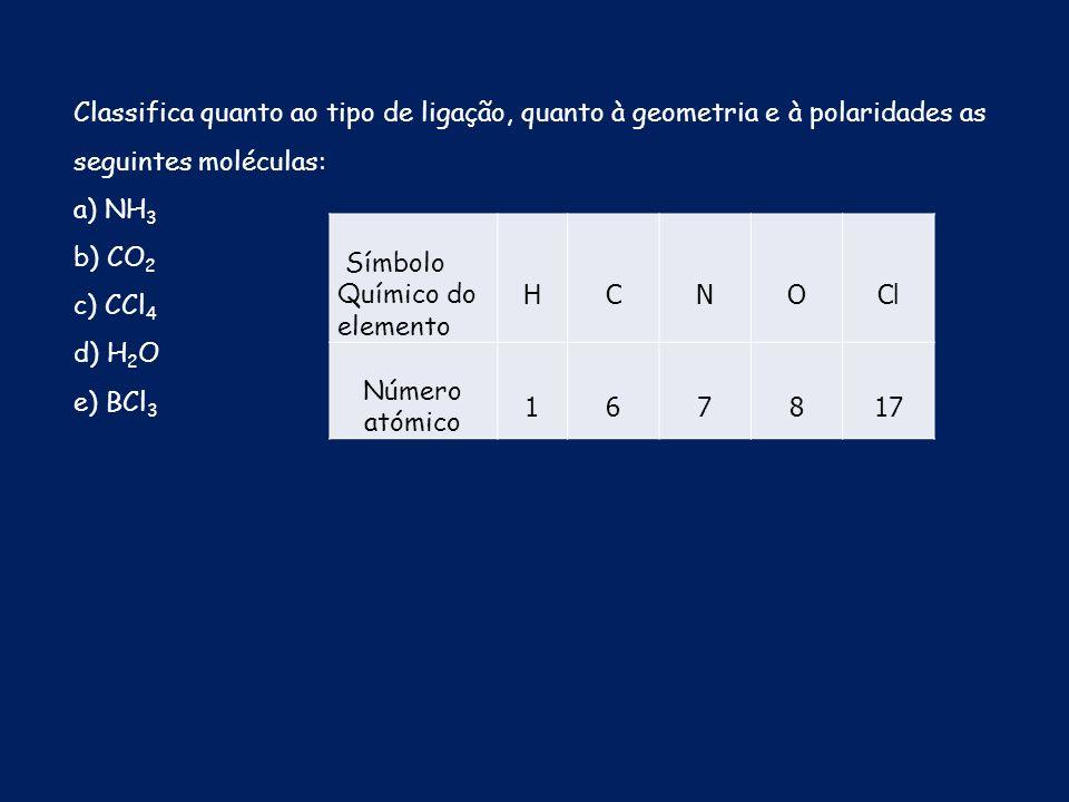 Classifica quanto ao tipo de ligação, quanto à geometria e à polaridades as seguintes moléculas: