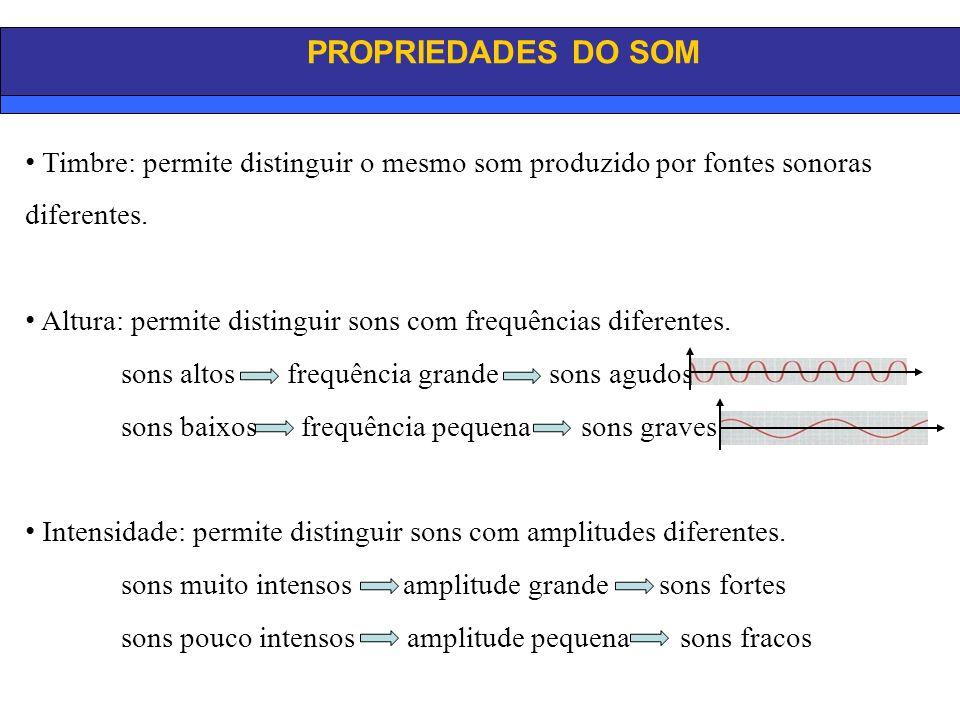 PROPRIEDADES DO SOM Timbre: permite distinguir o mesmo som produzido por fontes sonoras diferentes.