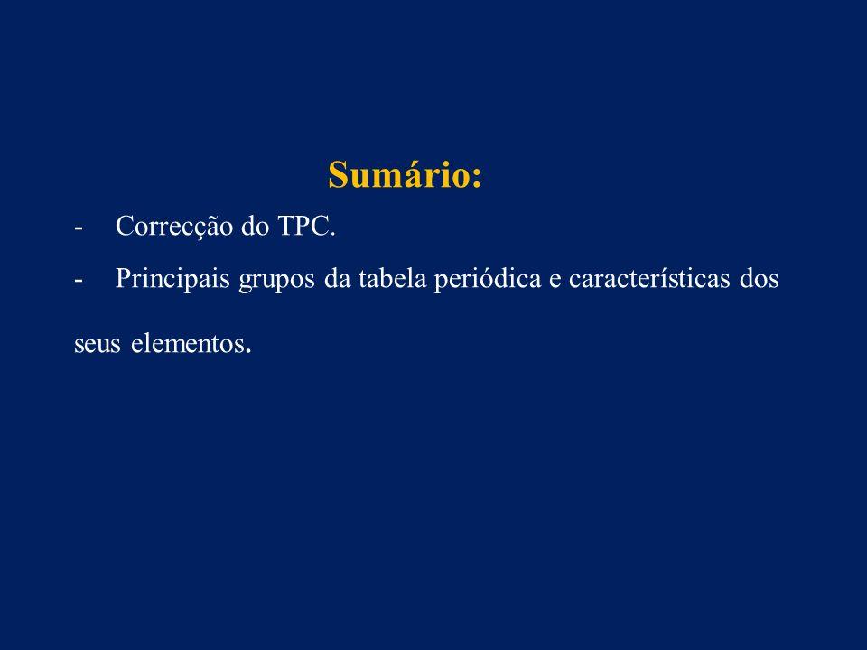 Sumário: Correcção do TPC.