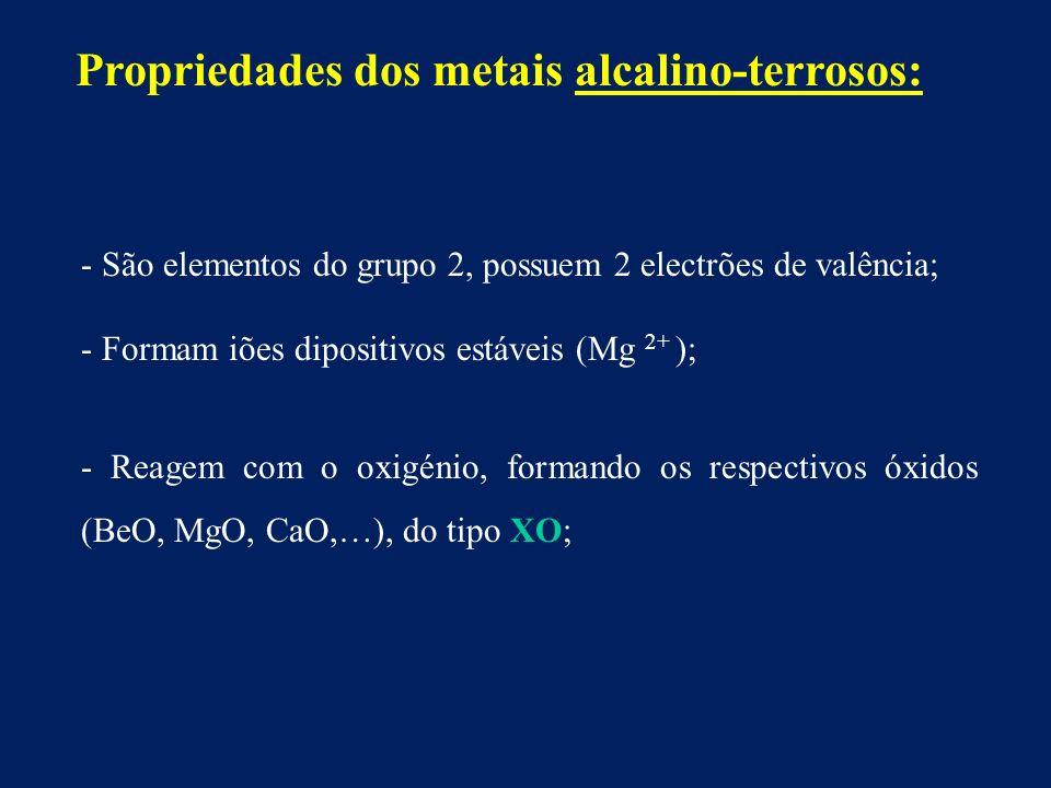 Propriedades dos metais alcalino-terrosos: