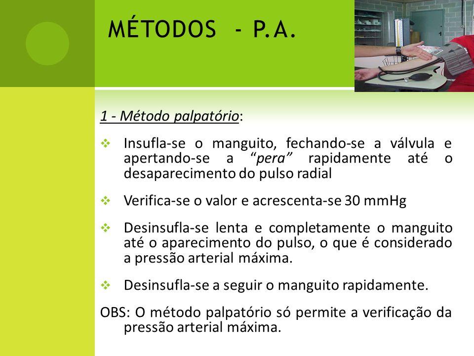 MÉTODOS - P.A. 1 - Método palpatório: