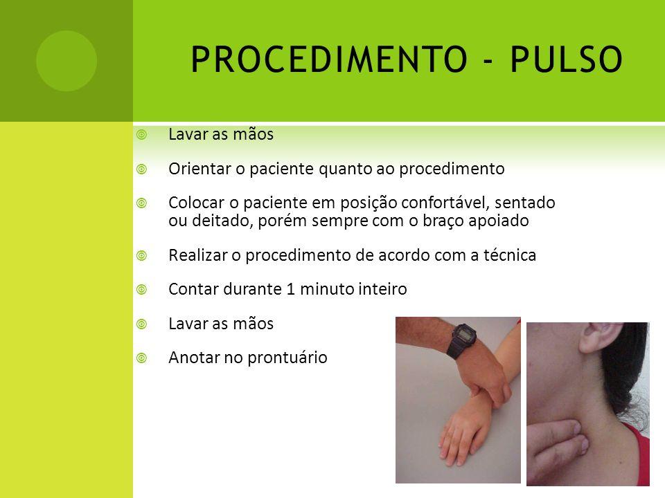 PROCEDIMENTO - PULSO Lavar as mãos