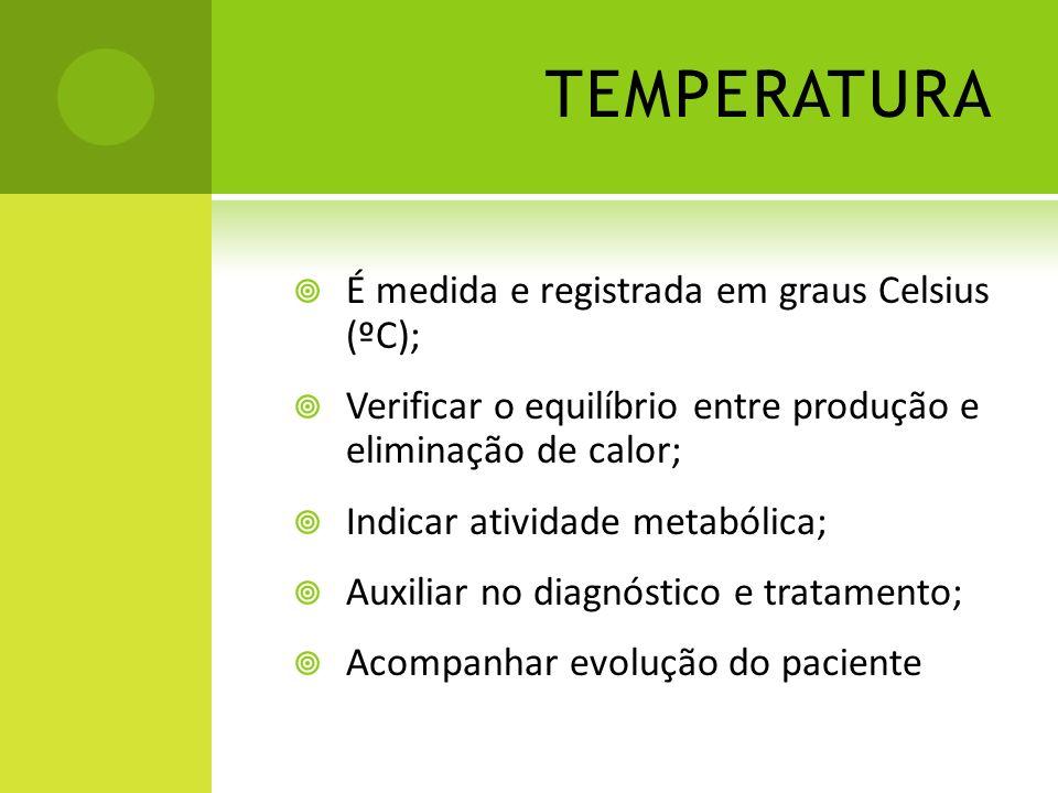 TEMPERATURA É medida e registrada em graus Celsius (ºC);
