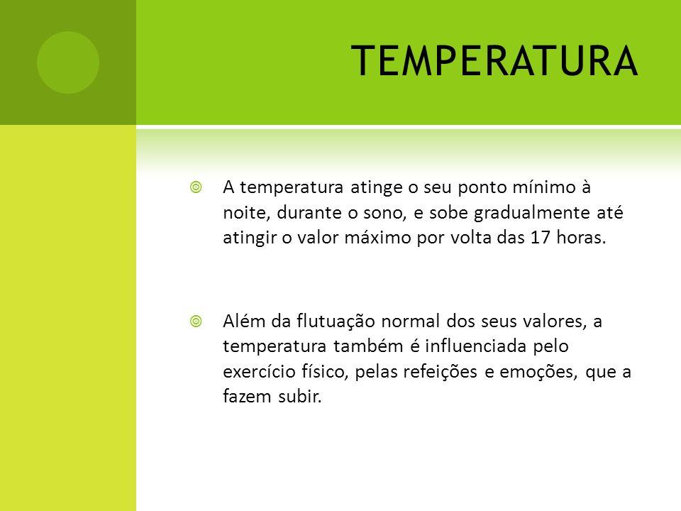 TEMPERATURA A temperatura atinge o seu ponto mínimo à noite, durante o sono, e sobe gradualmente até atingir o valor máximo por volta das 17 horas.