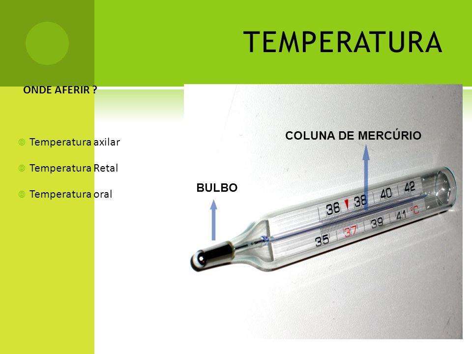 TEMPERATURA ONDE AFERIR Temperatura axilar Temperatura Retal