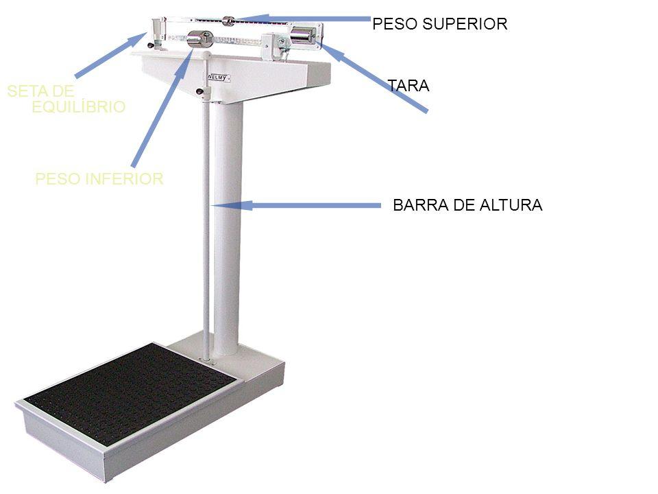 PESO SUPERIOR TARA SETA DE EQUILÍBRIO PESO INFERIOR BARRA DE ALTURA