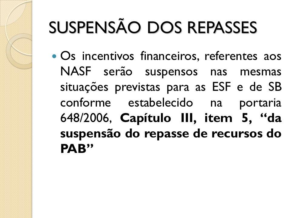 SUSPENSÃO DOS REPASSES