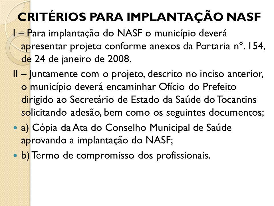CRITÉRIOS PARA IMPLANTAÇÃO NASF