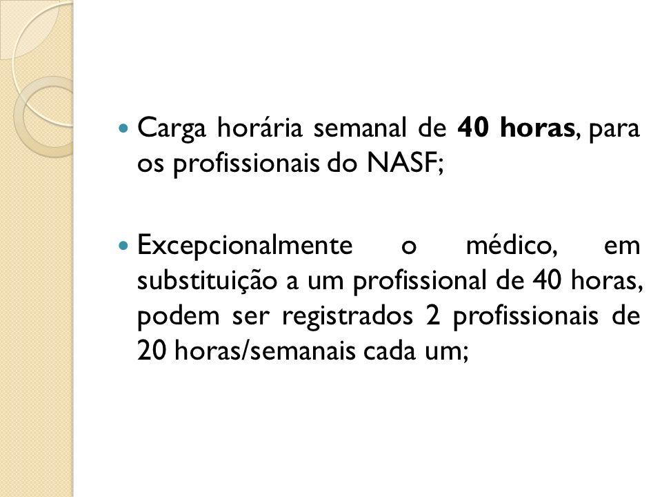 Carga horária semanal de 40 horas, para os profissionais do NASF;