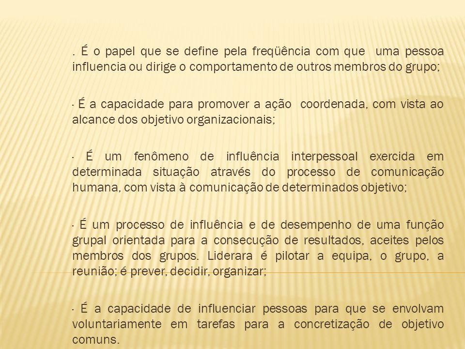 . É o papel que se define pela freqüência com que uma pessoa influencia ou dirige o comportamento de outros membros do grupo;