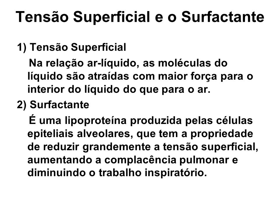 Tensão Superficial e o Surfactante