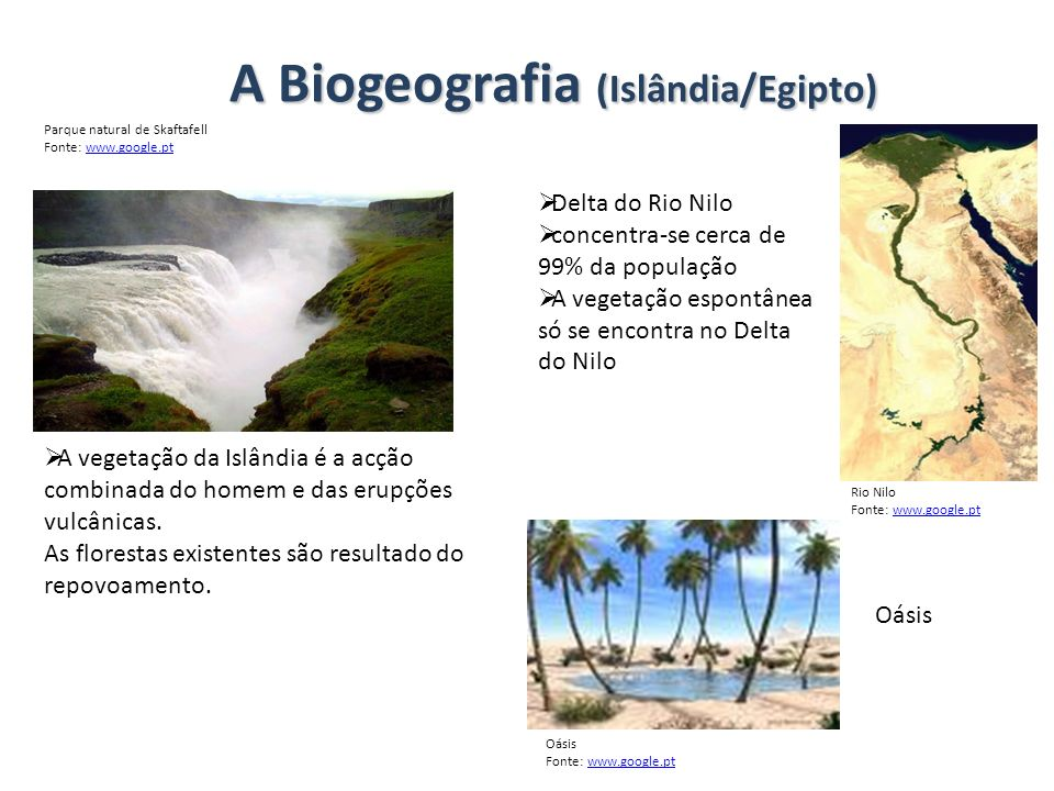 A Biogeografia (Islândia/Egipto)
