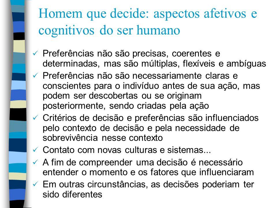 Homem que decide: aspectos afetivos e cognitivos do ser humano