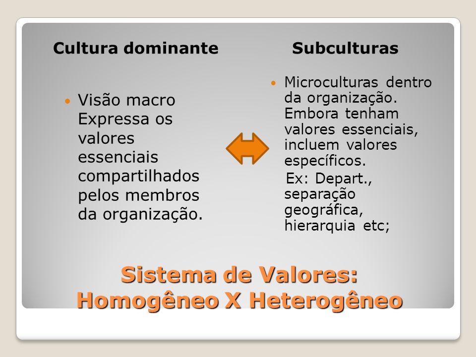 Sistema de Valores: Homogêneo X Heterogêneo