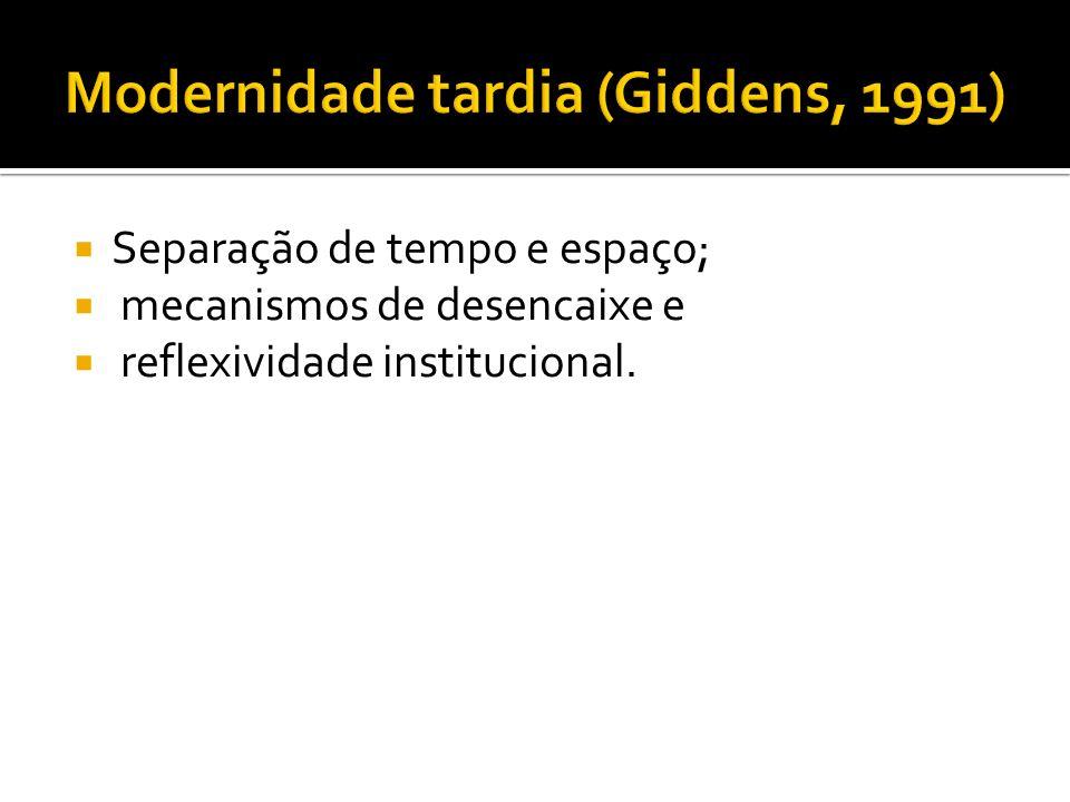 Modernidade tardia (Giddens, 1991)