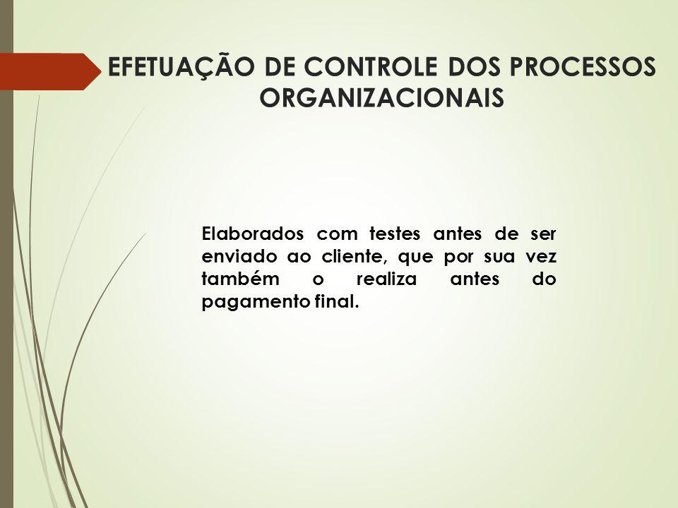 EFETUAÇÃO DE CONTROLE DOS PROCESSOS ORGANIZACIONAIS