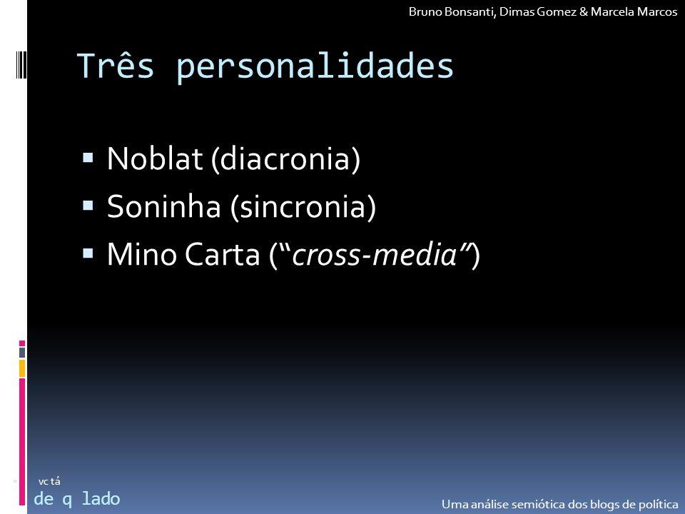 Três personalidades Noblat (diacronia) Soninha (sincronia)