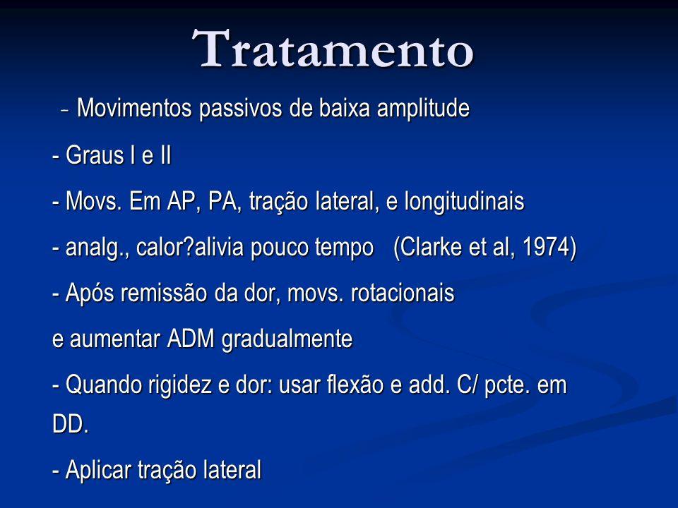 Tratamento - Movimentos passivos de baixa amplitude - Graus I e II