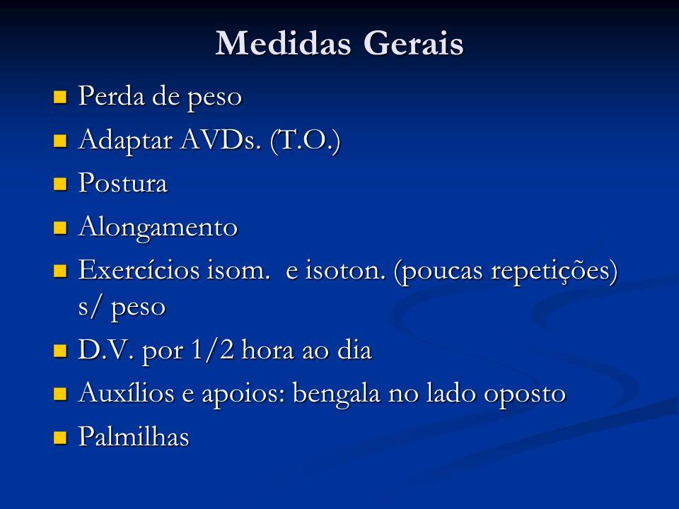 Medidas Gerais Perda de peso Adaptar AVDs. (T.O.) Postura Alongamento