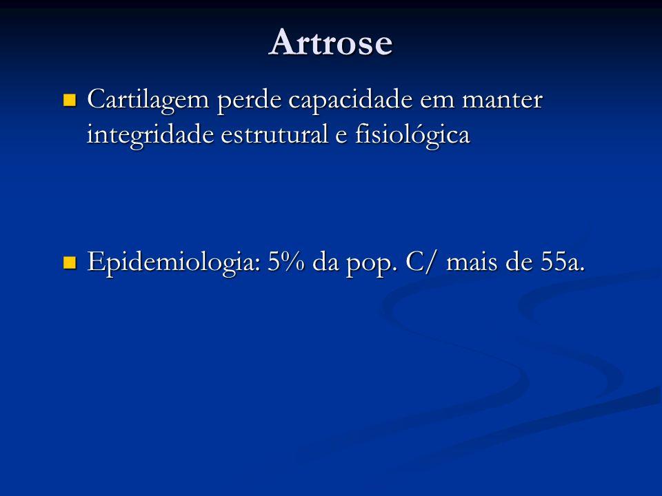 Artrose Cartilagem perde capacidade em manter integridade estrutural e fisiológica.