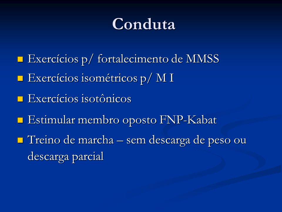 Conduta Exercícios p/ fortalecimento de MMSS