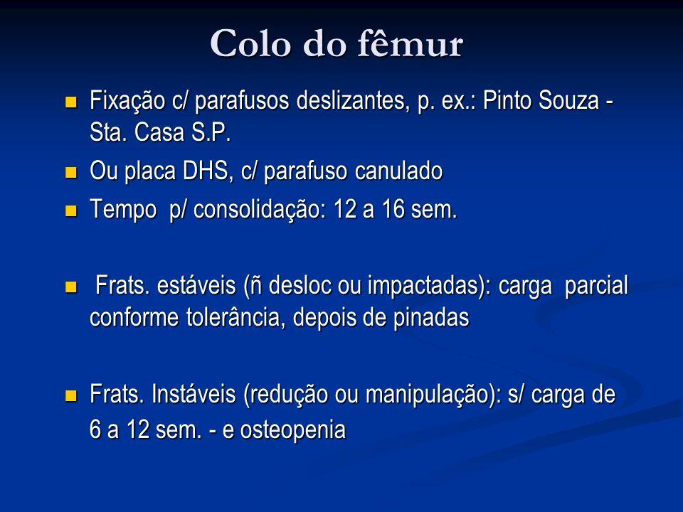 Colo do fêmur Fixação c/ parafusos deslizantes, p. ex.: Pinto Souza - Sta. Casa S.P. Ou placa DHS, c/ parafuso canulado.
