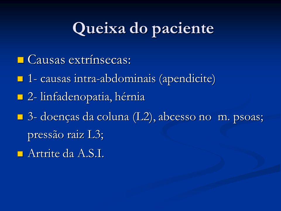 Queixa do paciente Causas extrínsecas: