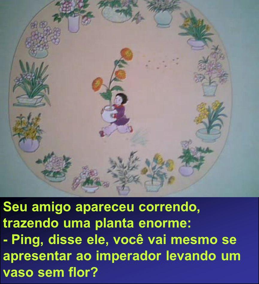 Seu amigo apareceu correndo, trazendo uma planta enorme: - Ping, disse ele, você vai mesmo se apresentar ao imperador levando um vaso sem flor