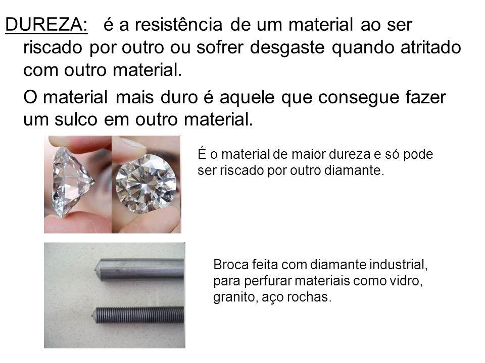DUREZA: é a resistência de um material ao ser riscado por outro ou sofrer desgaste quando atritado com outro material.