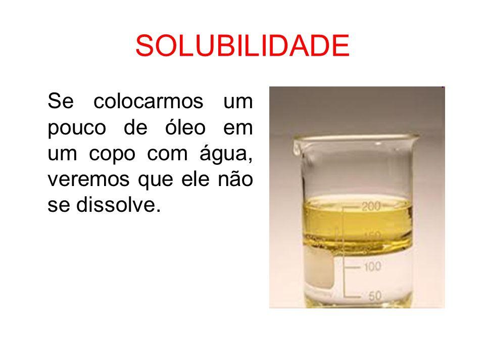 SOLUBILIDADE Se colocarmos um pouco de óleo em um copo com água, veremos que ele não se dissolve.